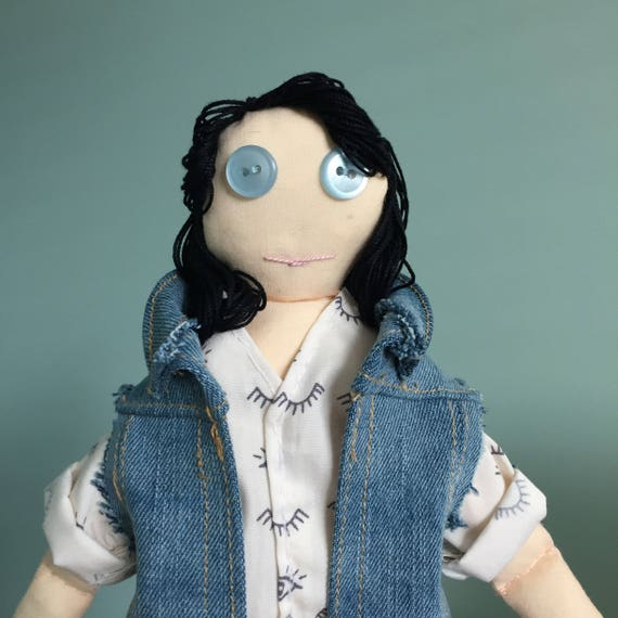 LGBTQ Family Friendly Doll; Tomboy Plush Toy; Representation Matters; Modern Family; Cloth Doll with Embroidered on Denim Vest