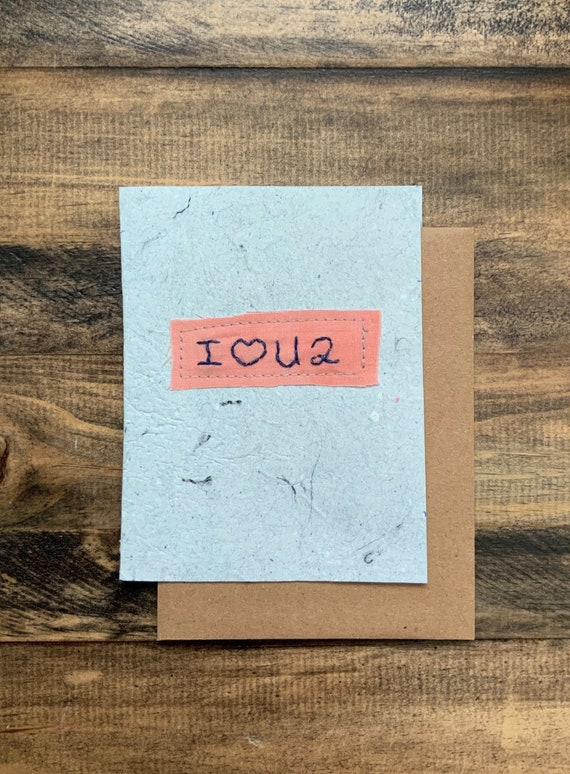 I love you too card; Handmade Recycled Paper and Fabric Greeting Card