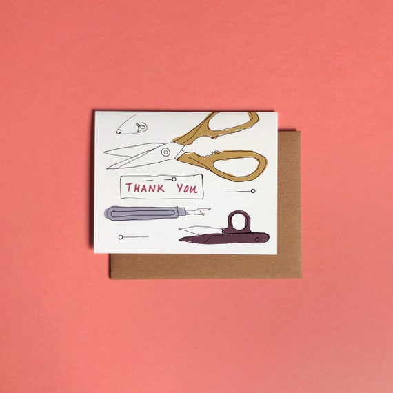 Thank You Card; Vintage Sharp Things