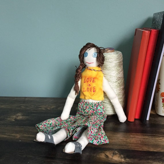 LGBTQ Family Friendly Doll; Love is Love Plush Toy; Representation Matters; Modern Family; Cloth Doll with Hand Dyed T-Shirt
