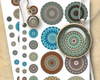 Mandalas 1/2, 1 & 2.5 inch Circles - Digital Collage Sheet Download