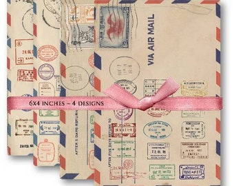 Air Mail Postal Stamps Digital Collage Sheet Download -471- Digital Paper - Instant Download Printables