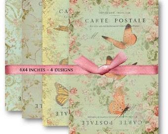 Butterfly Carte Postale - Digital Collage Sheet Download -460- Digital Paper - Instant Download Printables