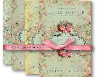 Carte Postale Backgrounds Digital Collage Sheet Download -486- Digital Paper - Instant Download Printables