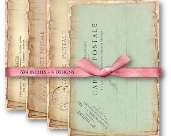 Vintage Postcards Digital Collage Sheet Download -505- Digital Paper - Instant Download Printables