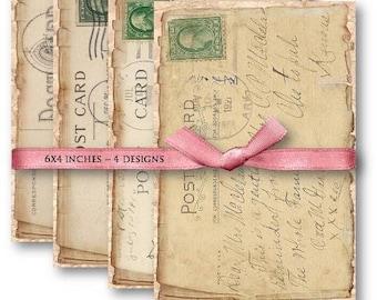 Vintage Postcards Digital Collage Sheet Download -506- Digital Paper - Instant Download Printables