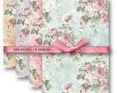 DIGITAL Pink Roses Backgrounds - Digital Collage Sheet Download -598- Digital Paper - Instant Download Printables