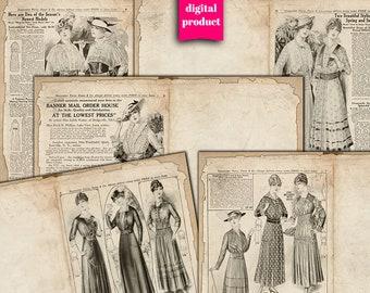DIGITAL Antique Fashion Junk Journal Pages - Printable Fashion Journaling Pages - Digital Vintage Images Download - VBM2555