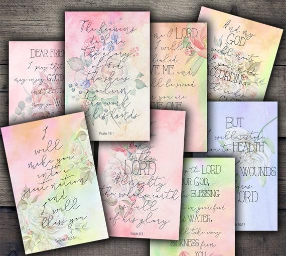 Printable Bible Verses Scripture Quote Cards Digital Collage Sheet Digital Paper Download