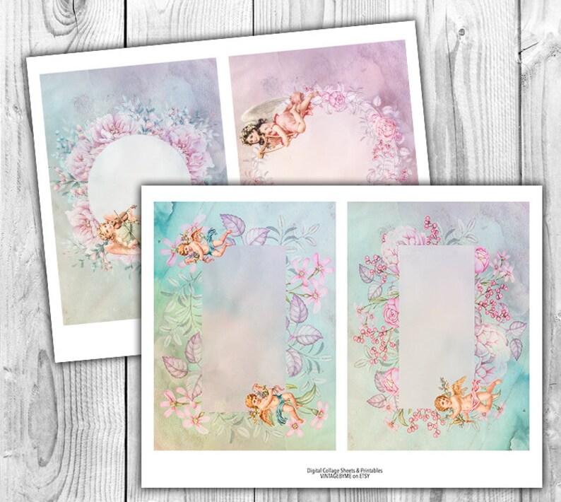 Watercolor Angels Floral Digital Collage Sheet Download