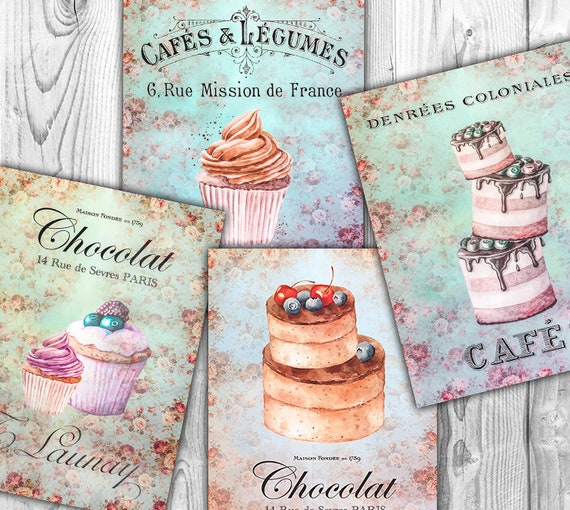 Shabby Chic Cakes Patisserie Tags Instant Download digital collage sheet T189 digital cupcake pie