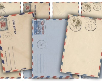 Digital Images - Digital Collage Sheet Download - Air Mail Envelope Tags -  396  - Digital Paper - Instant Download Printables