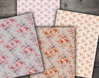 A4 Vintage Floral Backgrounds - Digital Paper Printables