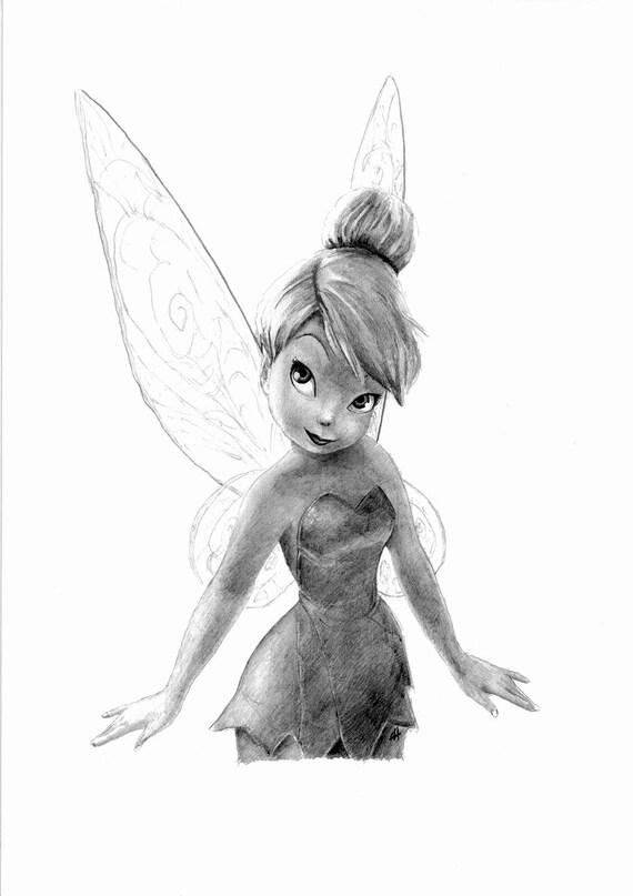 Disegno A Matita Tinkerbelle Etsy