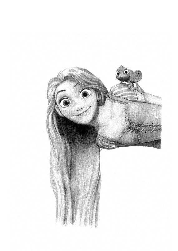 Tangled Rapunzel Pencil Drawing Etsy