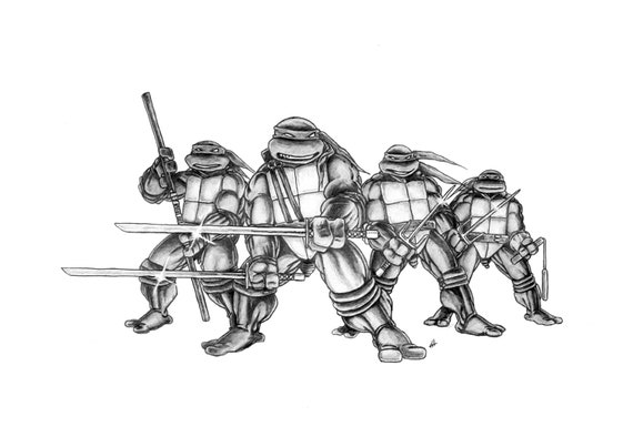 Teenage Mutant Ninja Turtles Pencil Drawing Etsy