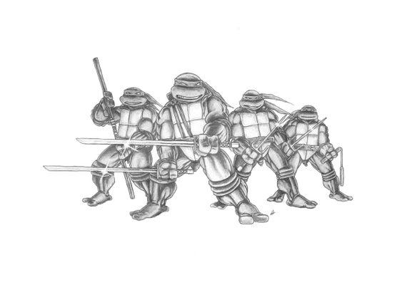 Dibujo De Lápiz De Teenage Mutant Ninja Turtles Etsy