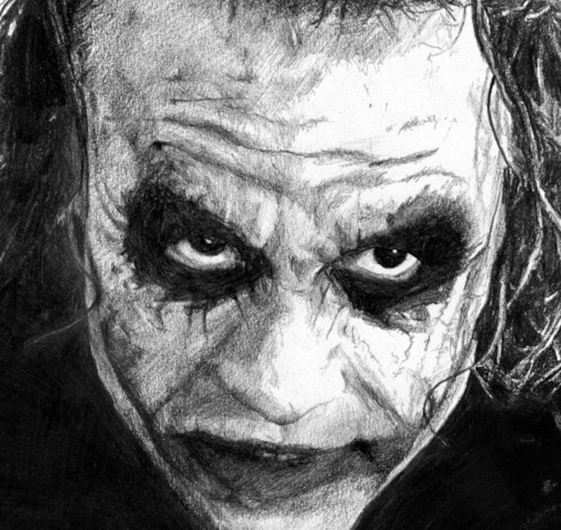 Joker Pencil Drawing Heath Ledger Poster