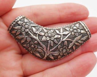 Large sterling silver floral pendant, sterling bib necklace, 925 flower pendant, sterling flower pendant, sterling necklace, 925 charm