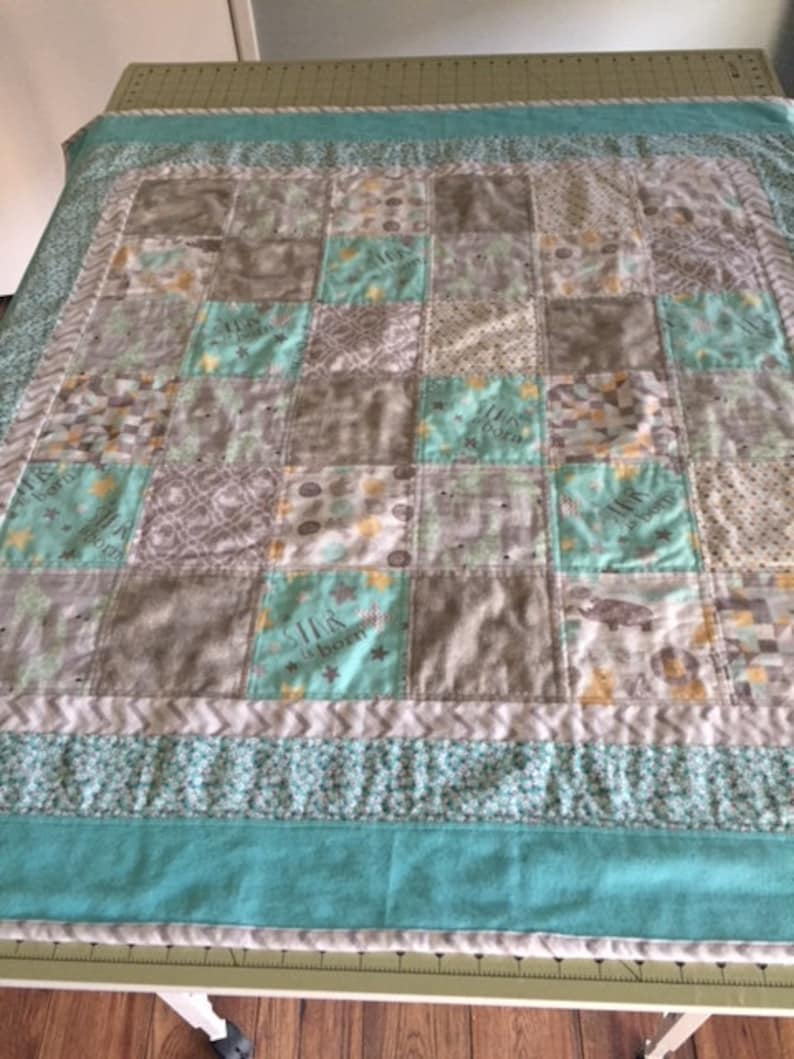 Aqua and greys Baby Flannel Blanket Square