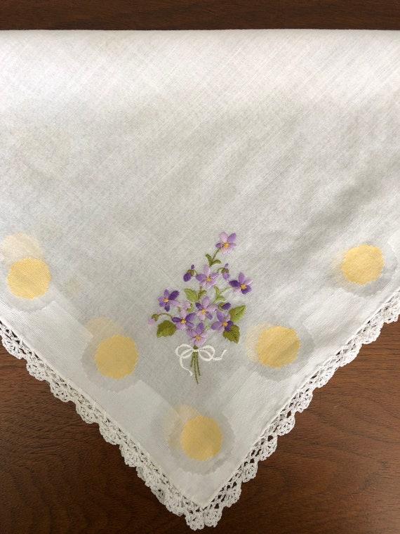Vintage Embroidered Handkerchief,Bridal Hankie,Som