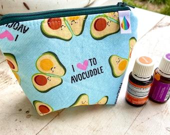 Essential oil bag, holds 6 bottles avocado Mini flat essential oil Bag Essential oil gift Essential oil storage essential oil case travel