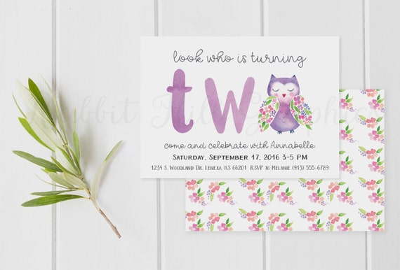 Owl Birthday Invitation First Second Girl