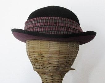 Mauve and Black Plaid Felt Bowler Hat