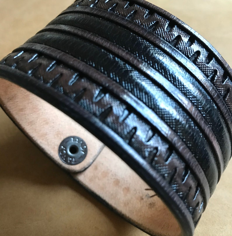 Custom Black Brown Leather Cuff
