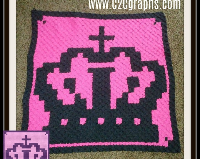 Featured listing image: Crown Baby Afghan, C2C Graph, Crochet Pattern