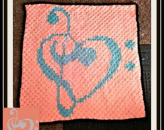 Love Music Small Afghan, C2C Crochet Pattern, Written Row Counts, C2C Graphs, Corner to Corner, Crochet Pattern, C2C Graph