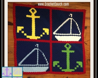 Nautical Baby Afghan, C2C Crochet Pattern, Written Row Counts, C2C Graphs, Corner to Corner, Crochet Pattern, C2C Graph