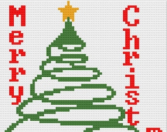 Christmas Tree Simple Afghan, C2C Crochet Pattern, Written Row Counts, C2C Graphs, Corner to Corner Crochet Pattern, Graphgan, Christmas C2C