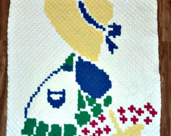 Sunbonnet Sue Blanket, C2C Crochet Pattern, Written Row Counts, C2C Graphs, Corner to Corner, Crochet Pattern, C2C Graph