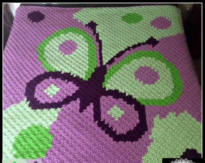 Featured listing image: Butterfly Kids Afghan, C2C Crochet Pattern, Written Row Counts, C2C Graphs, Corner to Corner, Crochet Pattern, C2C Graph