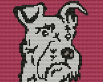 Schnauzer Afghan, C2C Crochet Pattern, Written Row by Row, Color Counts, Instant Download, C2C Graph, C2C Pattern, Graphgan Pattern