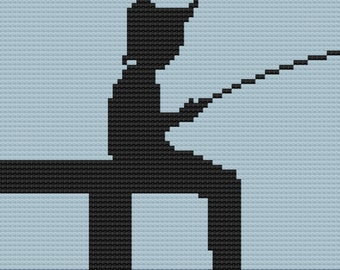Boy Fishing on Dock Afghan, C2C Crochet Pattern, Written Row by Row, Color Counts, Instant Download, C2C Graph, C2C Pattern, c2c graphgan