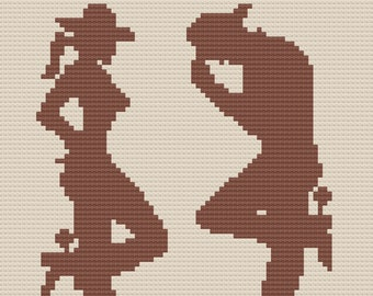 Cowgirl & Cowboy Silhouette Afghan, C2C Crochet Pattern, Written Row by Row, Color Counts, Instant Download, C2C Graph, C2C Pattern
