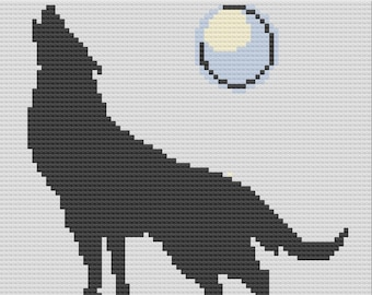 Wolf Howling at the Moon Afghan, C2C Crochet Pattern, Written Row by Row, Color Counts, Instant Download, C2C Graph, C2C Pattern, C2C
