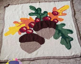 Fall Acorns Afghan, sc Crochet Pattern, tss Crochet Pattern, Written Row by Row, Color Counts, Instant Download, sc Graph, tss Graph