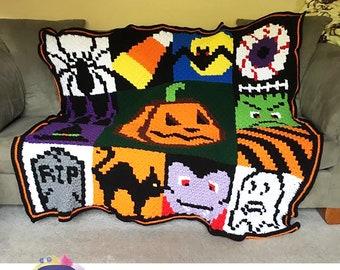 Halloween Squares Afghan, C2C Crochet Pattern, Written Row by Row, Color Counts, Instant Download, C2C Graph, C2C Pattern, C2C Graphgan