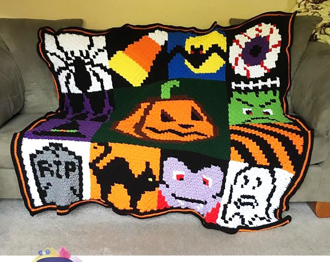 Featured listing image: Halloween Squares Afghan, C2C Crochet Pattern, Written Row by Row, Color Counts, Instant Download, C2C Graph, C2C Pattern, C2C Graphgan