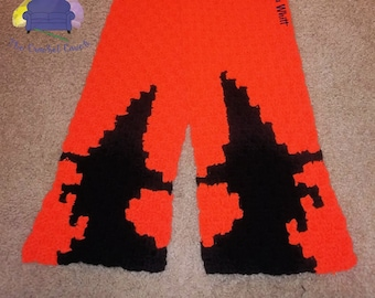 Witch Silhouette Scarf, C2C Crochet Pattern, Written Row by Row, Color Counts, Instant Download, C2C Graph, C2C Pattern,  Corner to Corner