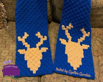 Deer Scarf, C2C Crochet Pattern, Written Row by Row, Color Counts, Instant Download, C2C Graph, C2C Pattern, Corner to Corner, Crochet Couch