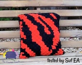 Tiger Print Pillow, C2C Crochet Pattern, Written Row by Row, Color Counts, Instant Download, C2C Graph, C2C Pattern, Crochet Pillow