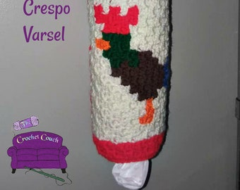 Rooster Grocery Bag Holder, C2C Crochet Pattern, Written Row by Row, Color Counts, Instant Download, C2C Graph, C2C Pattern