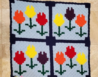 Janet Quilted Lapghan, C2C Crochet Pattern, Written Row by Row, Color Counts, Instant Download, C2C Graph, C2C Pattern, Graphgan