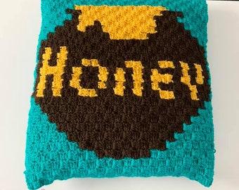 Honeypot Pillow, C2C Crochet Pattern, Written Row by Row, Color Counts, Instant Download, C2C Graph, C2C Pattern, Crochet Pillow