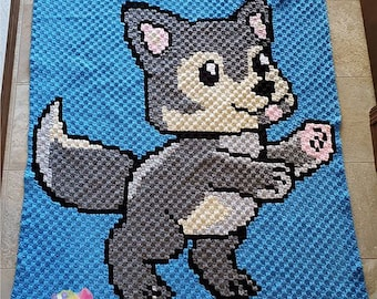 Wolf Baby Kids Afghan, C2C Crochet Pattern, Written Row by Row, Color Counts, Instant Download, C2C Graph, C2C Pattern, Graphgan