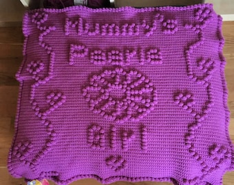Mummy's Peerie Girl Baby Afghan, Bobble Stitch Crochet Pattern, Written Row by Row, Color Counts, Instant Download, Graphgan Pattern